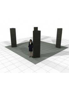 Slatwall Triangle Towers (2'W x 8'H) for Island Booth